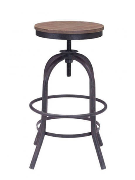 industrial wood swivel counter stool