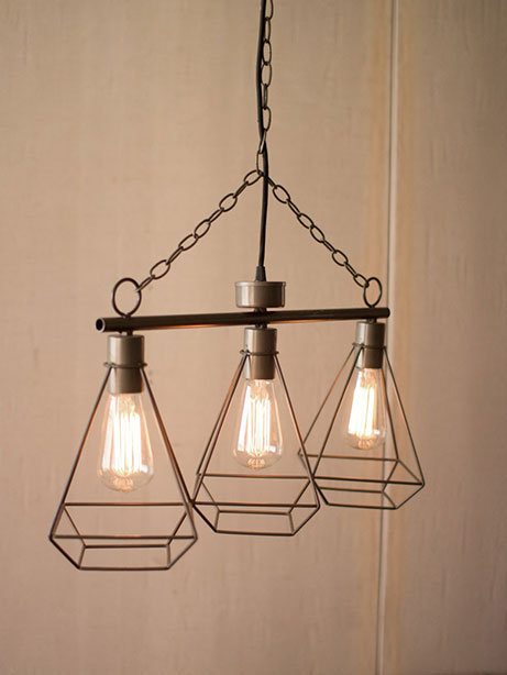 wire 3 tier pendant light