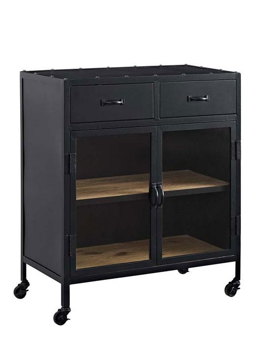 Black metal rolling cabinet