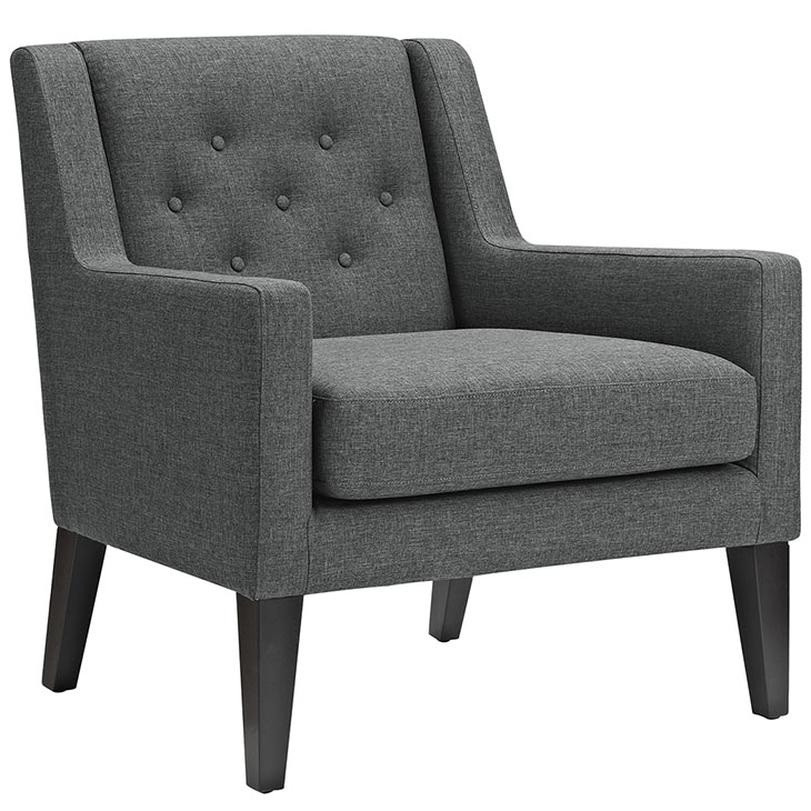 Den upholstered accent chair gray 1