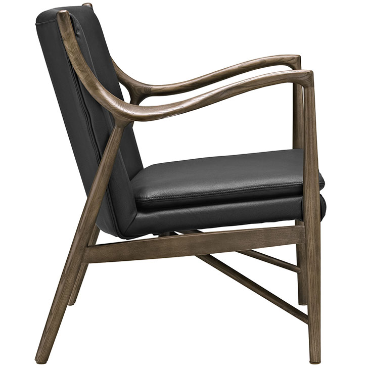 Horn Wood Leather Armchair black 1