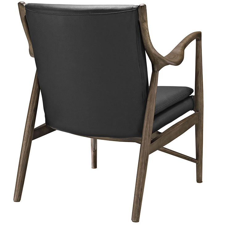 Horn Wood Leather Armchair black 2