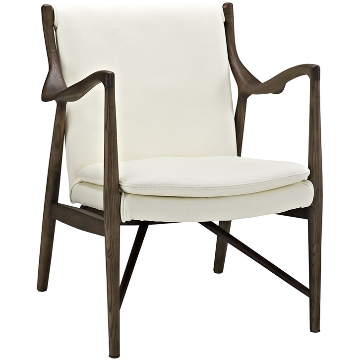 Horn Wood Leather Armchair white 1