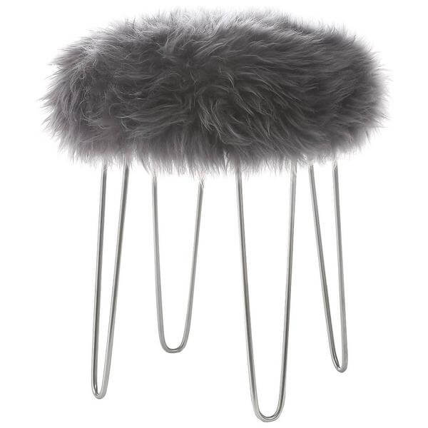 Sheepskin puff stool grey
