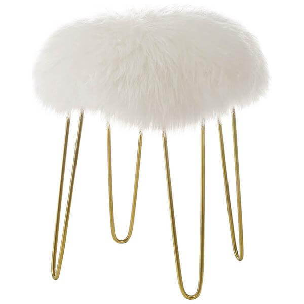 Sheepskin puff stool white