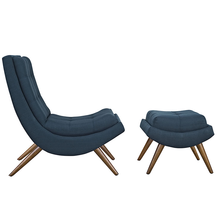 Wave Lounge Chair Ottoman Set blue 2