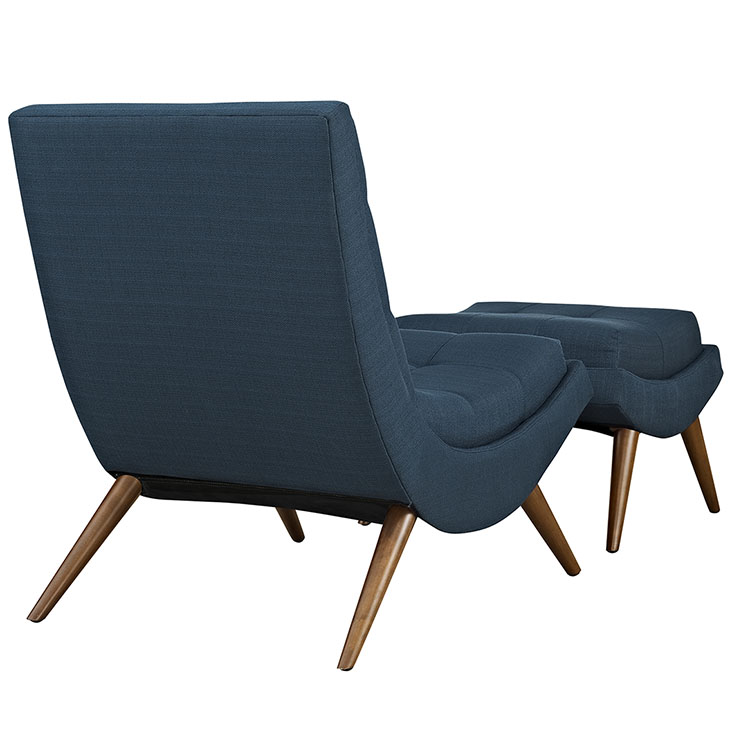 Wave Lounge Chair Ottoman Set blue 3