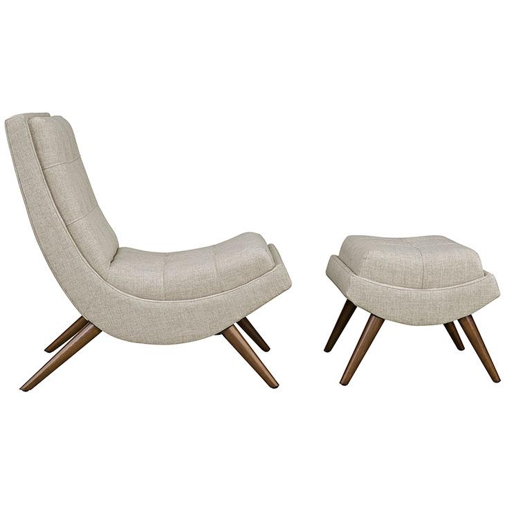 Wave Lounge Chair Ottoman Set cream 2