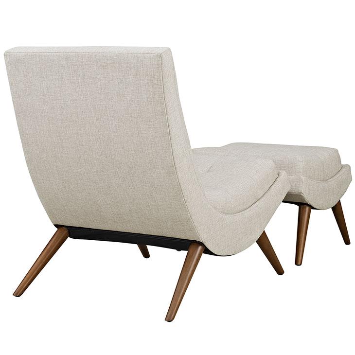 Wave Lounge Chair Ottoman Set cream 3