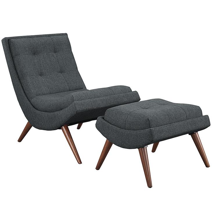 Wave Lounge Chair Ottoman Set dark gray 1