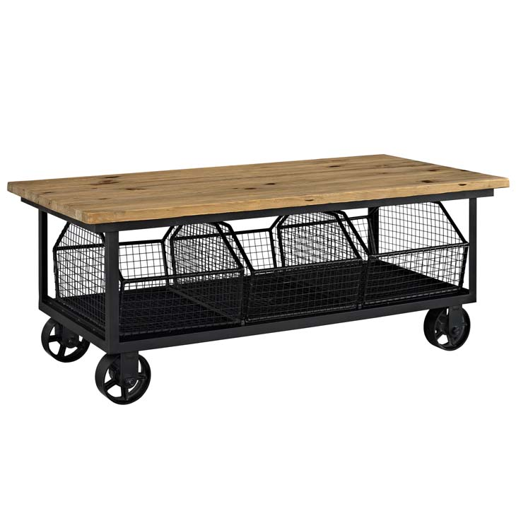 Wood Black Wire Rolling coffee table 1