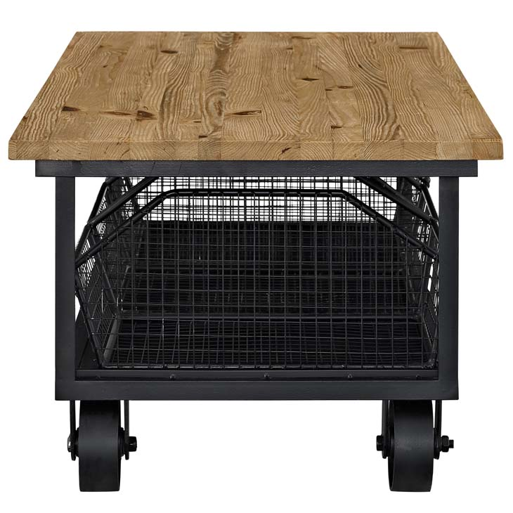 Wood Black Wire Rolling coffee table 2
