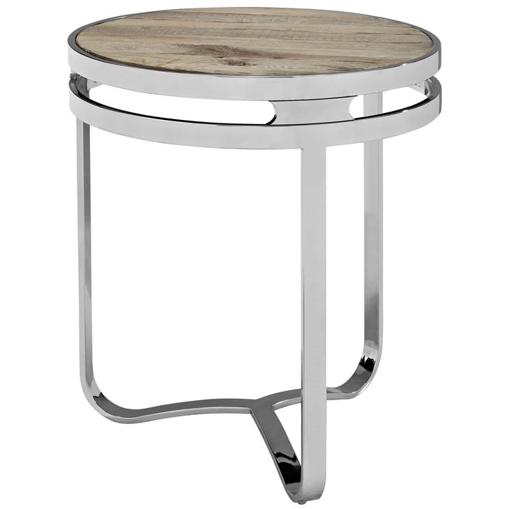 Wood chome circular side table 1
