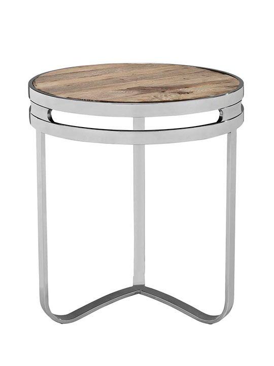 Wood chome circular side table