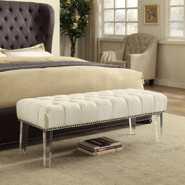 acrylic upholstered bench