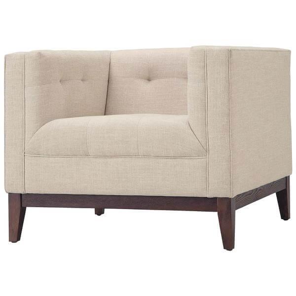 beige midcentury armchair