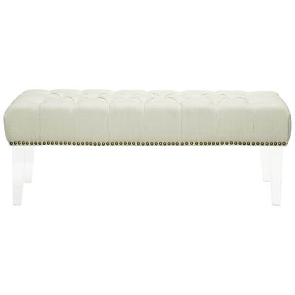 bench beige fabric tufted