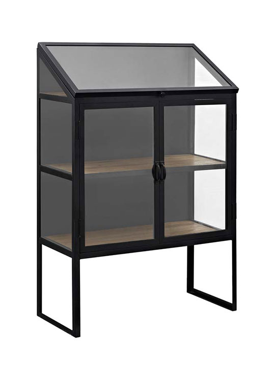 black metal glass display cabinet