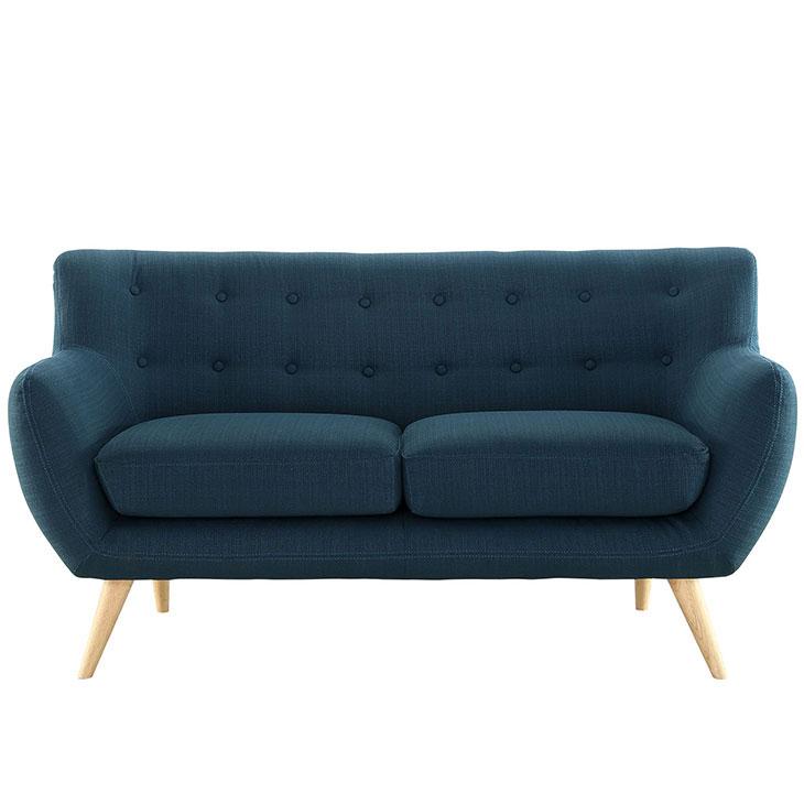decade upholstered loveseat dark blue 1