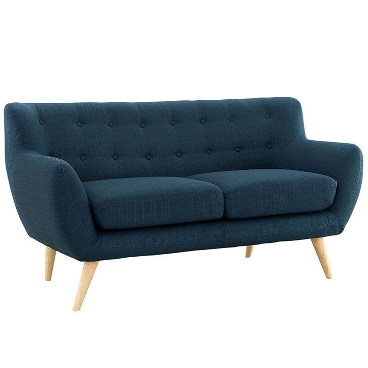 decade upholstered loveseat dark blue 2