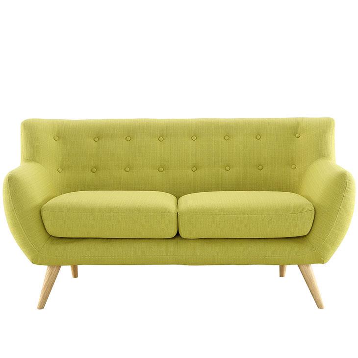 decade upholstered loveseat dark lime green 1