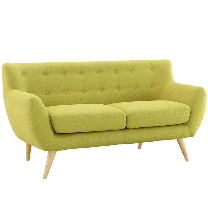 decade upholstered loveseat dark lime green 2