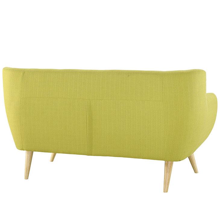 decade upholstered loveseat dark lime green 3