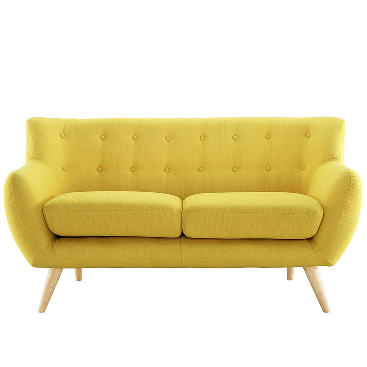 decade upholstered loveseat light yellow 1