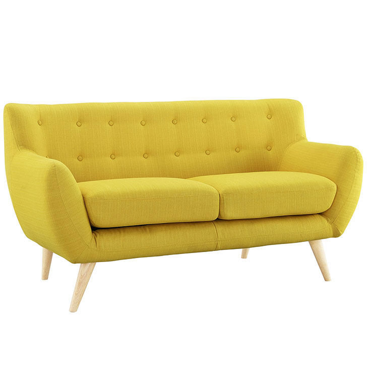 decade upholstered loveseat light yellow 2
