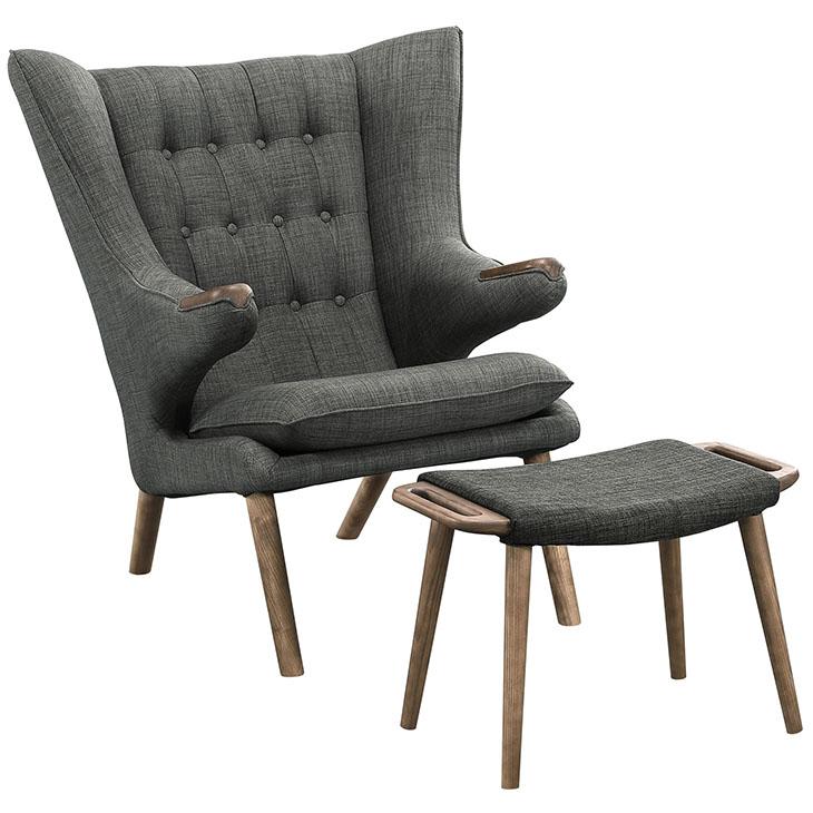 fellow lounge chair ottoman set gray 1
