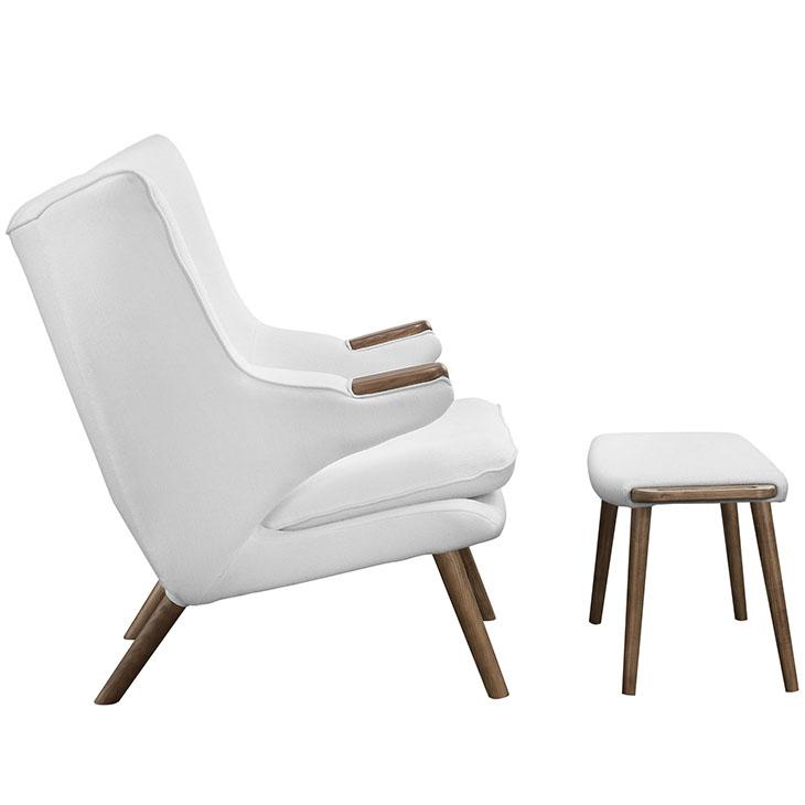 fellow lounge chair ottoman set white 2