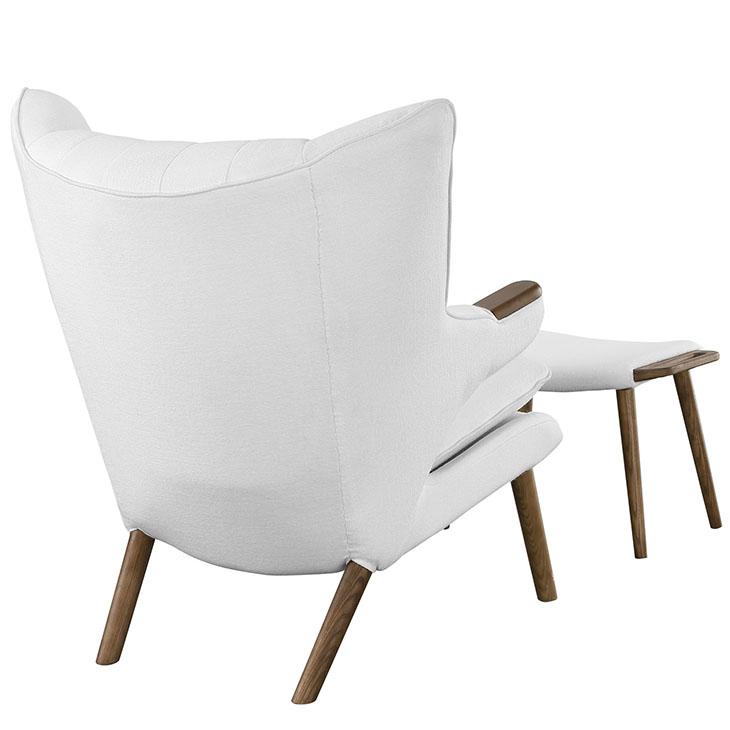 fellow lounge chair ottoman set white 3