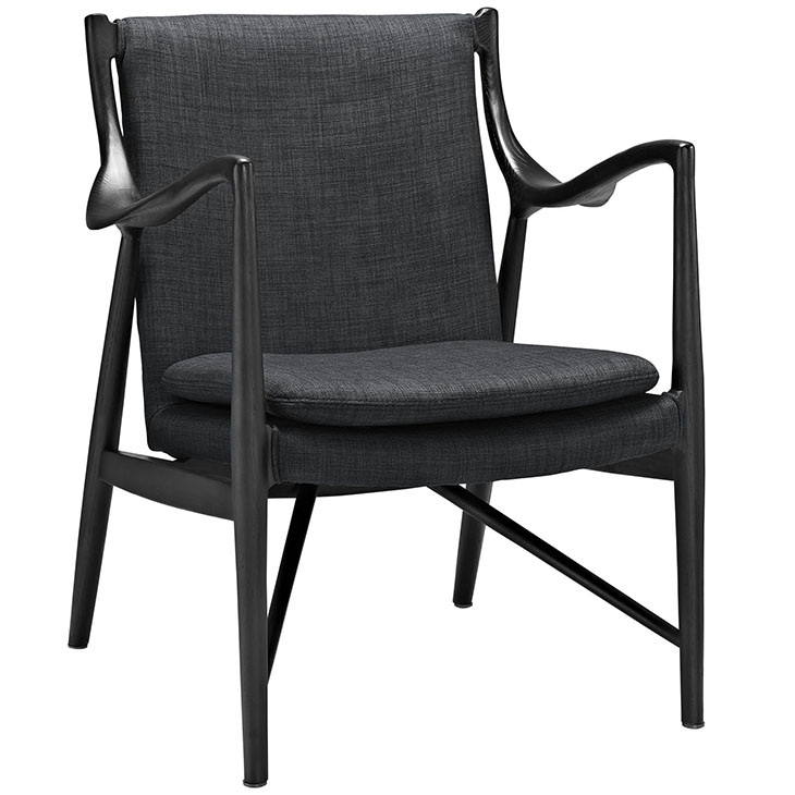 horn wood fabric chair gray 1