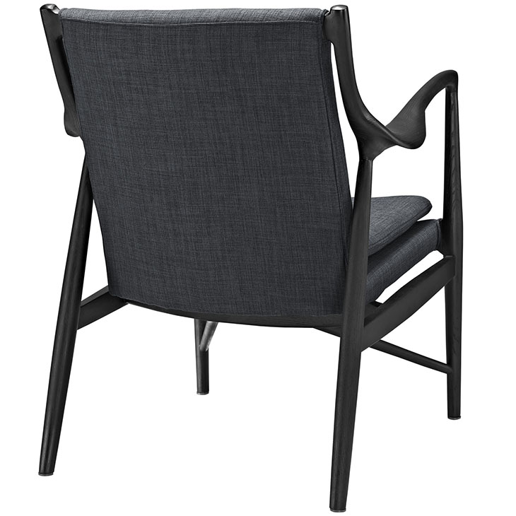 horn wood fabric chair gray 3