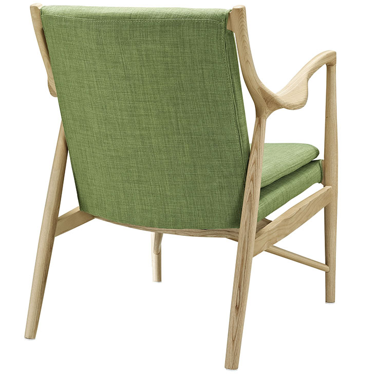 horn wood fabric chair green 3