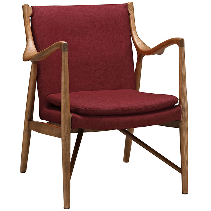 horn wood fabric chair red 1