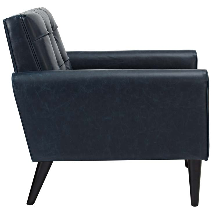 midnight leather armchair blue 2