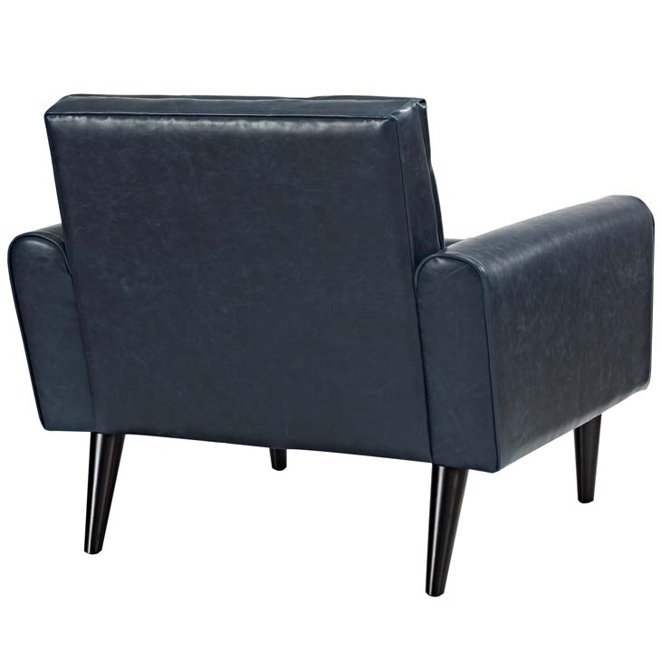 midnight leather armchair blue 3