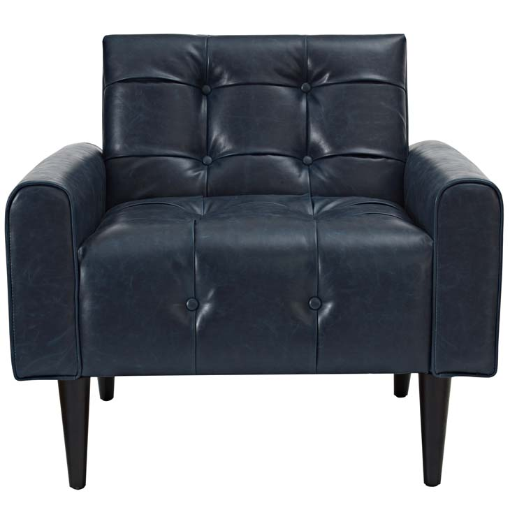 midnight leather armchair blue 4