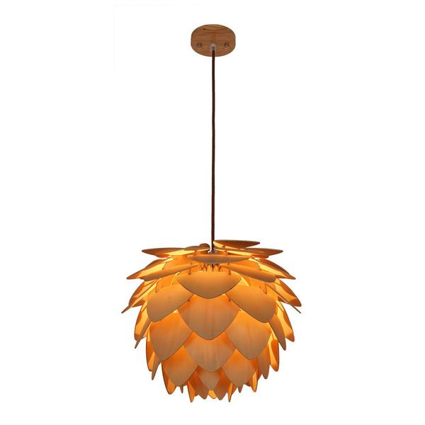 natural wood petals medium pendant light 1