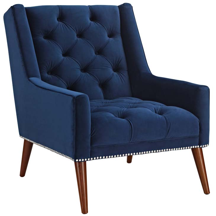 tilly velvet armchair blue 1