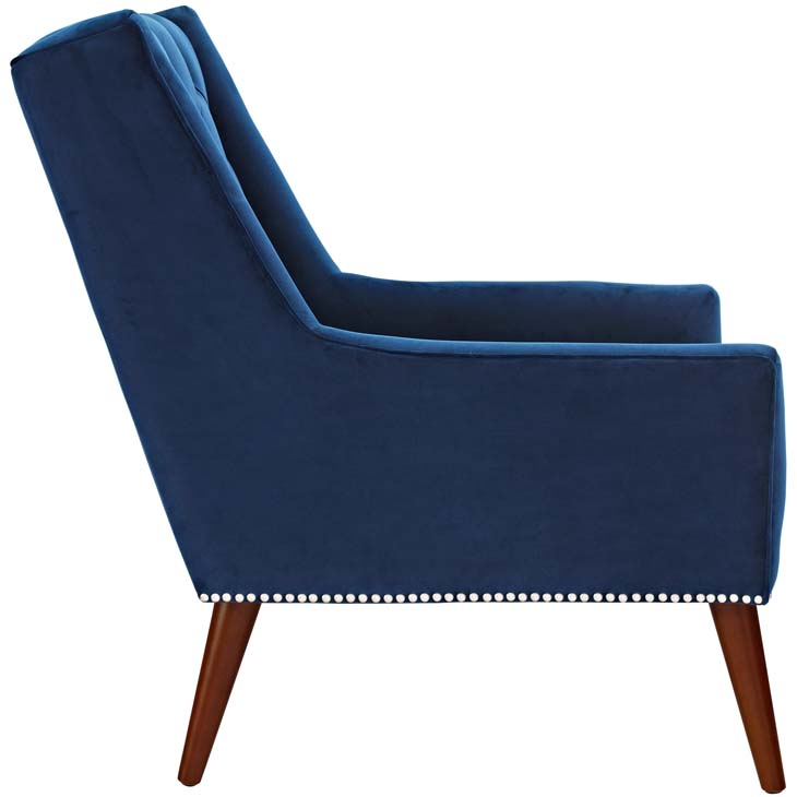 tilly velvet armchair blue 2