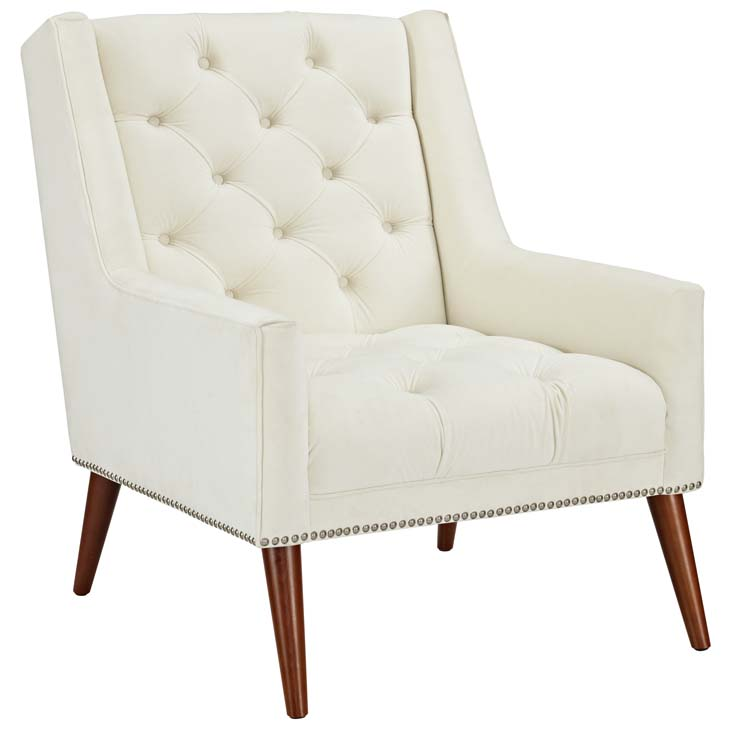 tilly velvet armchair cream 1