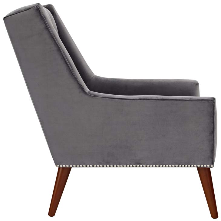 tilly velvet armchair gray 2