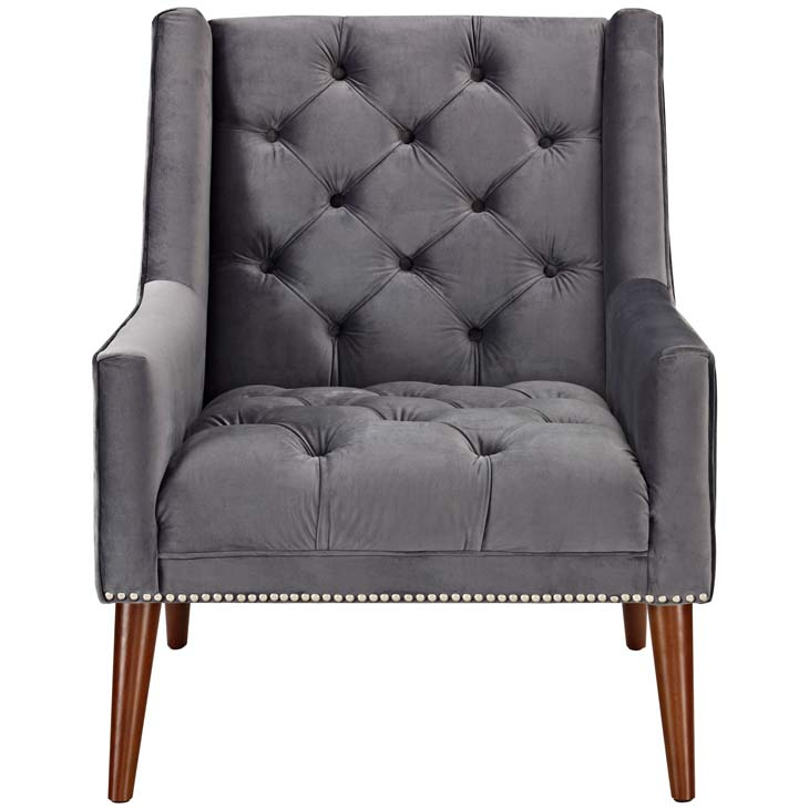tilly velvet armchair gray 4