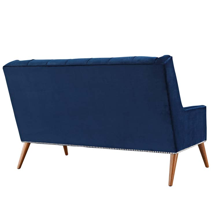 tilly velvet loveseat blue 2