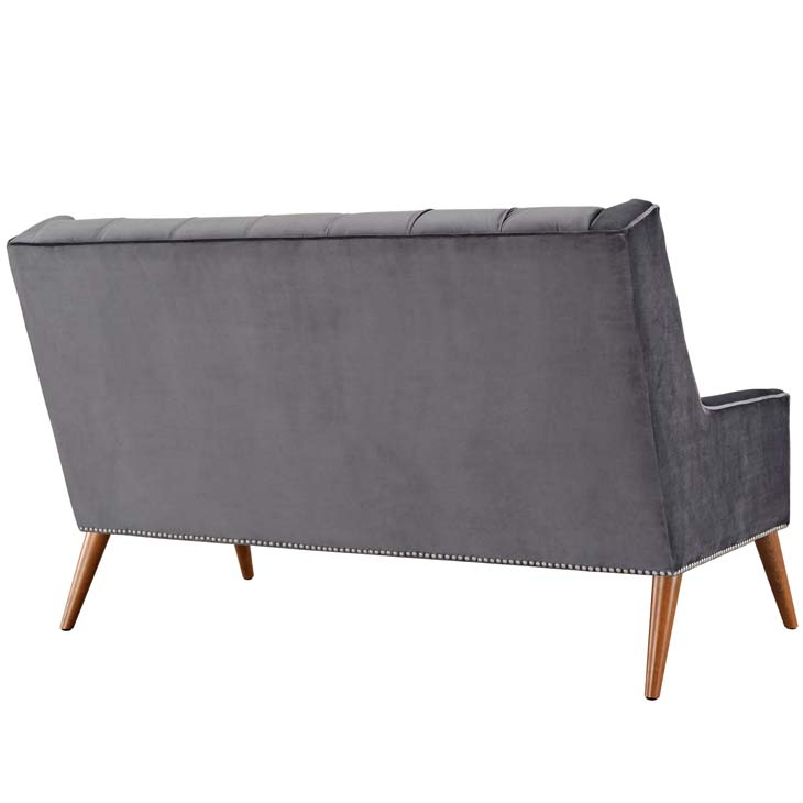 tilly velvet loveseat gray 3