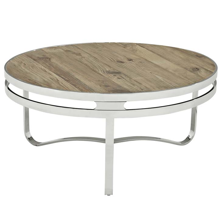 wood chrome circular coffee table 1