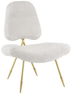Stratus Gold Sheepskin Accent Chair White