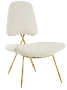 Stratus Gold Velvet Accent Chair White